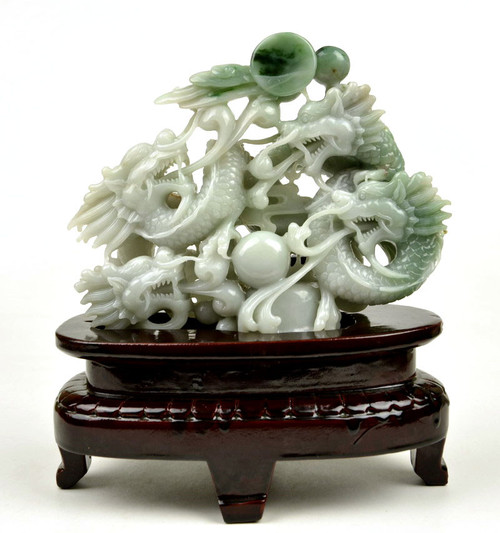 hand carved jade 3D dragon