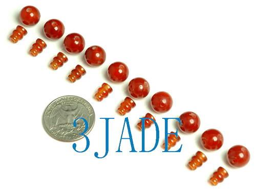 Red Agate Prayer Beads Guru-End Beads
