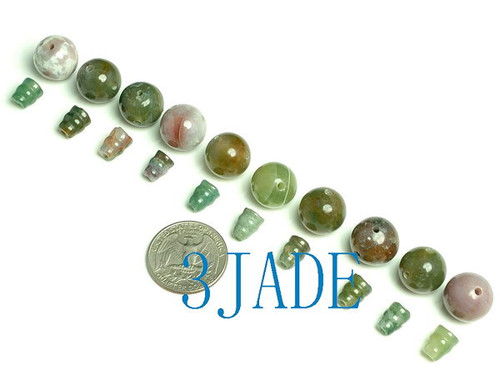 Moss Agate Prayer Beads Guru Beads set