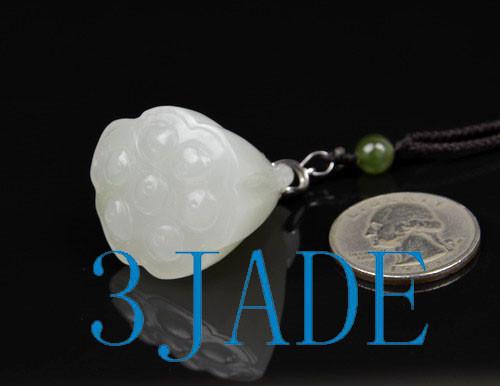 white nephrite jade lotus seed pod pendant