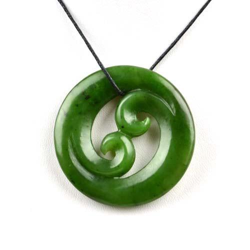 green jade double koru pendant