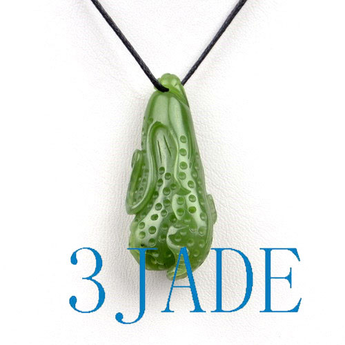 Natural Green Nephrite Jade Cabbage Pendant Necklace w/ certificate