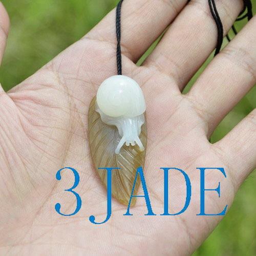 Hetian jade snail pendant