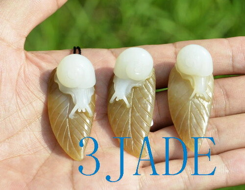 nephrite jade snail carving