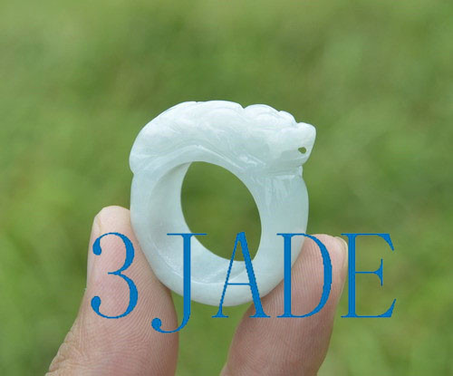 A grade jadeite jade Pixiu  saddle ring