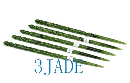green nephrite jade hair stick