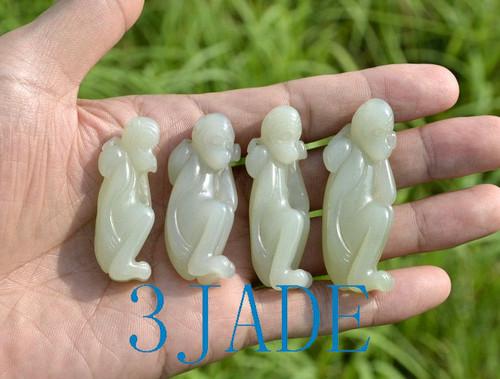 white jade monkey pendant