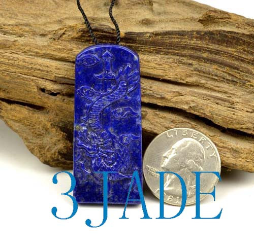 Natural Lapis Lazuli Chinese Dragon Pendant Amulet Necklace