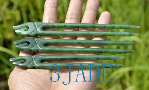 Maori jade hair comb