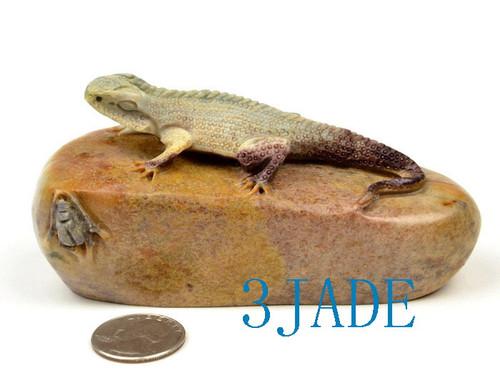 Shoushan stone lizard statue