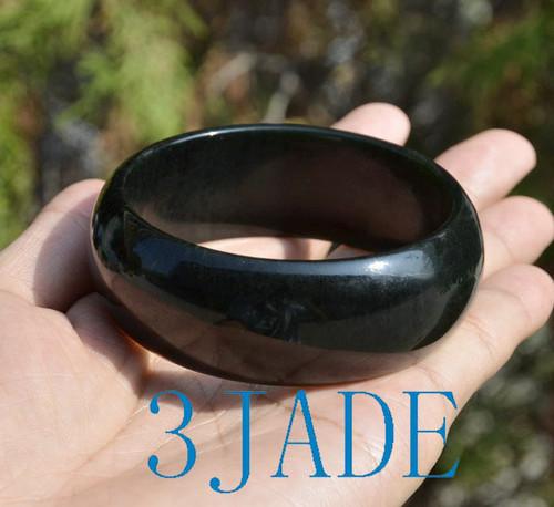 60mm-62mm Natural Black Nephrite Jade Wide Bangle Bracelet w/ certificate