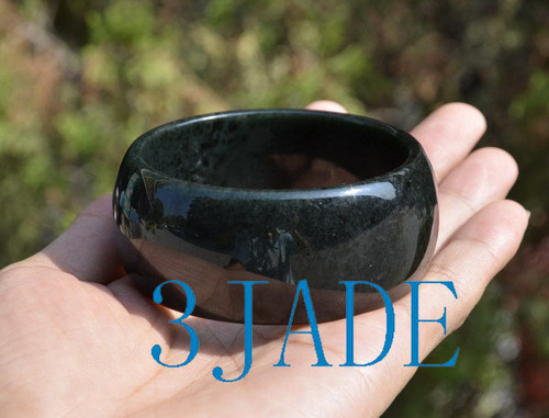 58.5-63.5mm Natural Black Nephrite Jade 26mm Wide Bangle Bracelet w/ certificate