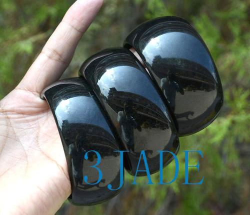 wide black jade bangle
