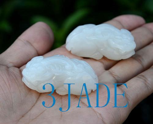 One Pair Of Hetian White Nephrite Jade Pixiu Amulet Pendants w/ certificate
