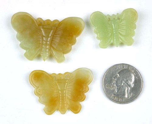 hand carved Hetian jade butterfly
