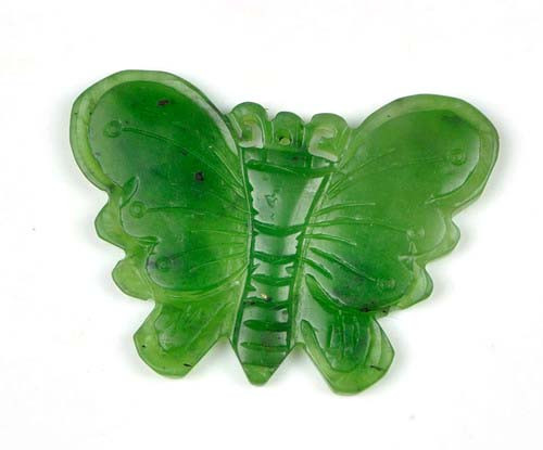 Hand Carved Natural Green/White Nephrite Jade Butterfly Pendant Necklace