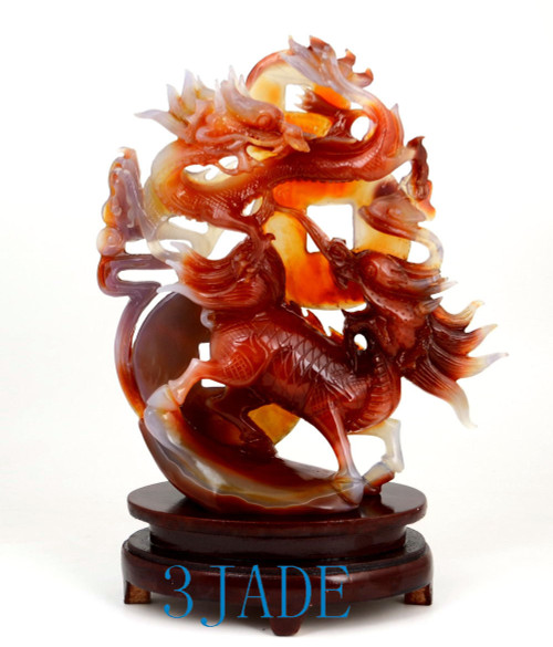 red agate Chinese Dragon Qilin statue