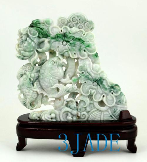 A Grade Jadeite Jade Lotus Koi Fish Sculpture