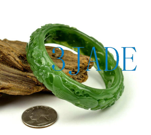 56mm Green Nephrite Jade Bangle Bracelet w/ Carved Bird Flower  w/ certificate