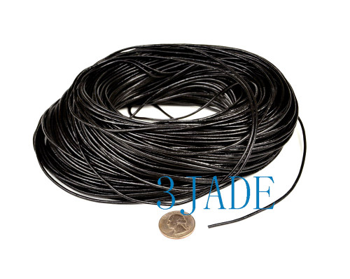 2mm Black Cowhide Leather Cord