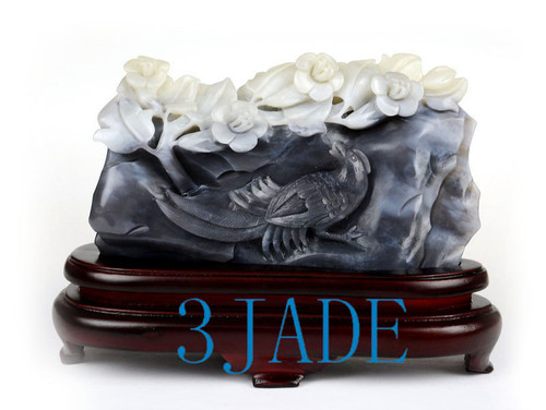 White-Black Nephrite Jade Bird Flower Statue