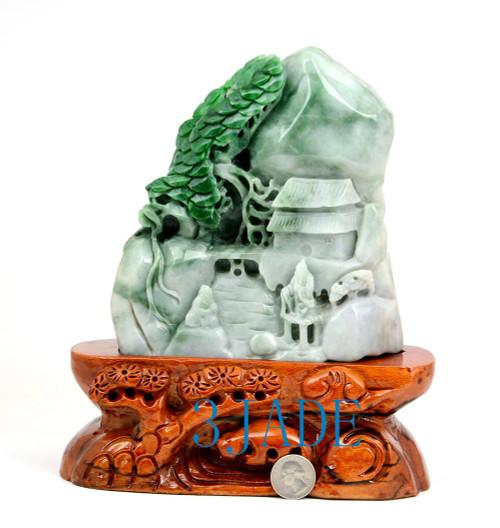 A grade green jadeite jade mountain