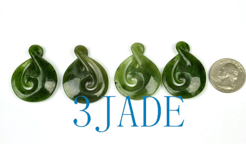 Green Nephrite Jade Koru & Twist Pendants Wholesale Maori Greenstone Necklaces