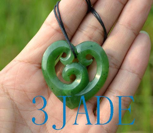 green jade Koru heart pendant necklace