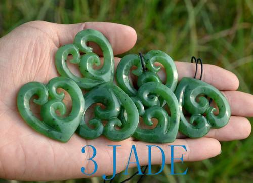 jade Koru heart pendant necklace