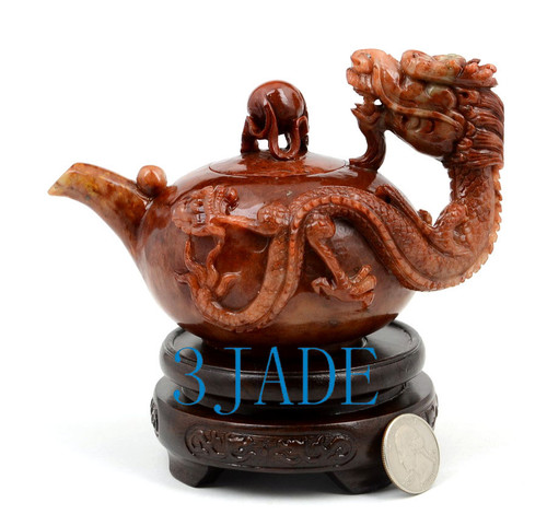 Hand Carved  ShouShan Stone Playing Dragon Teapot