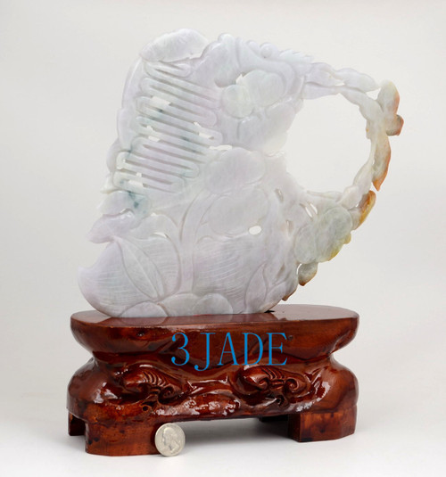 A Grade Multi-color Jadeite Jade Dragon Statue Chinese Traditional Carving w/ certificate