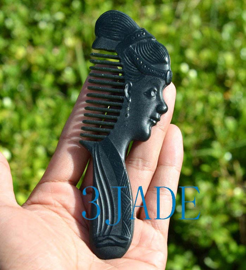 Chinese beauty figure jade hair comb