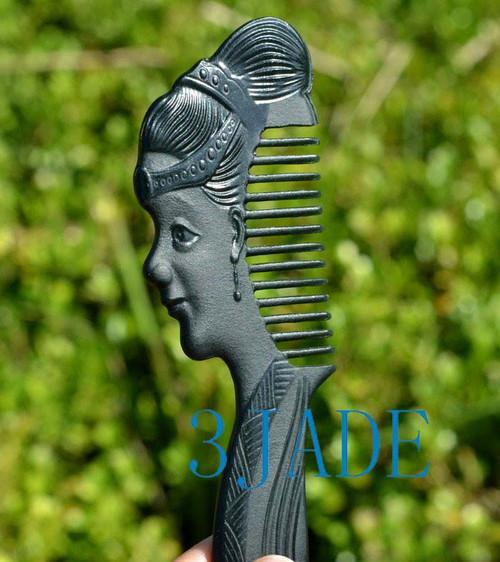nephrite jade hair comb