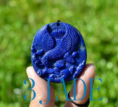 Natural Lapis Lazuli Gemstone Eagle Pendant Necklace