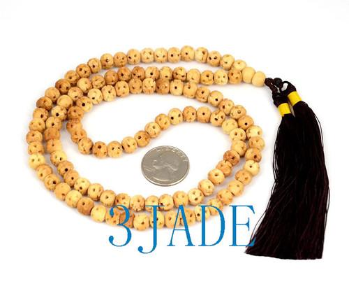 "30"" Hand Carved Bovine Bone 108 Prayer Beads Meditation Mantra Buddhist Mala"