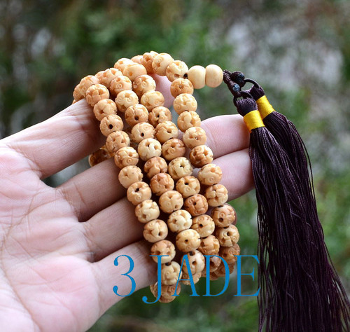 "30"" Hand Carved Bovine Bone 108 Prayer Beads Meditation Mantra Buddhist Mala"