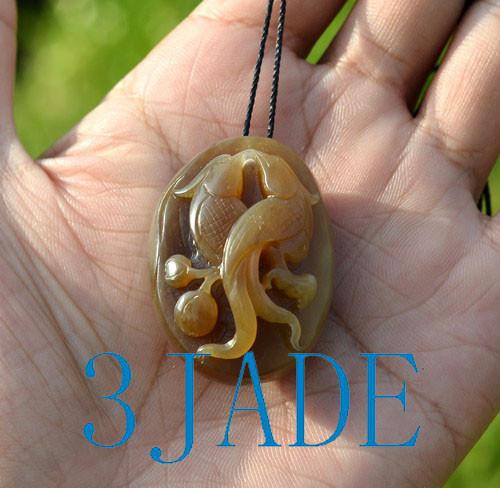 honey brown nephrite jade love birds pendant