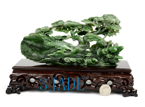 Green Nephrite Jade WITHERED TREE REVIVE Sculpture