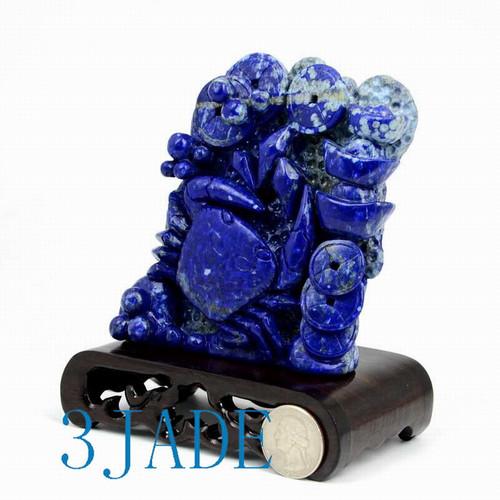 Lapis Lazuli Chinese Crab Statue