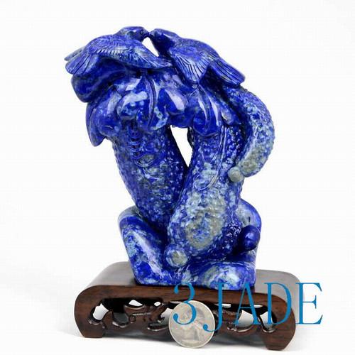 Lapis Lazuli Bird & Cucumber Statue