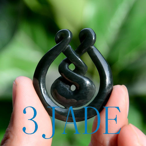 Nephrite Jade Eternity Twist Pendant Necklace