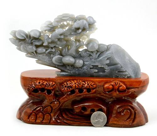 Nephrite Jade WITHERED PINE TREE REVIVE Sculpture