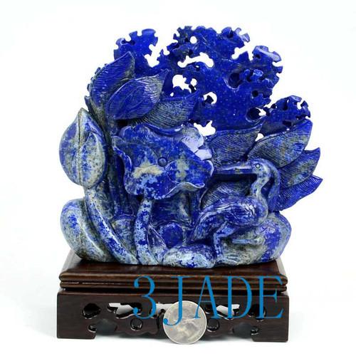 Lapis Lazuli Heron Bird Sculpture