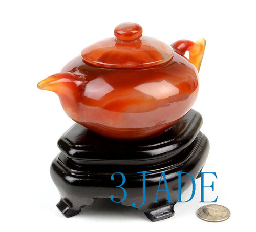 Hand Carved Carnelian Teapot