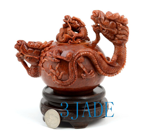 Hand Carved ShouShan Stone Dragon Teapot