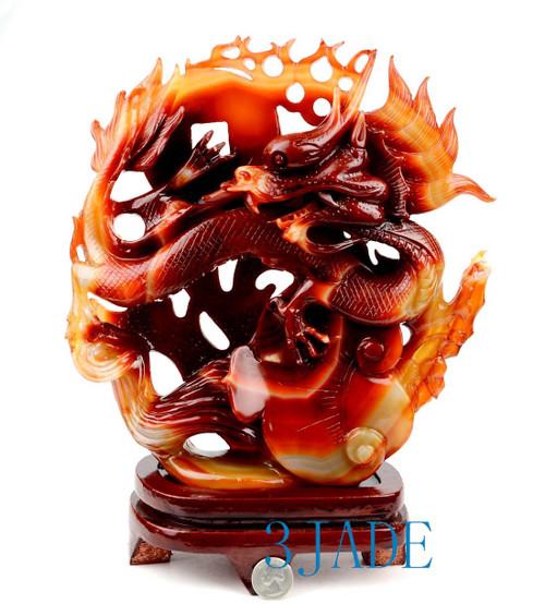Carnelian Chinese Dragon Statue
