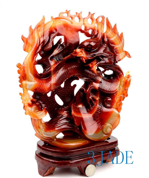 Red Agate Chinese Dragon Statue