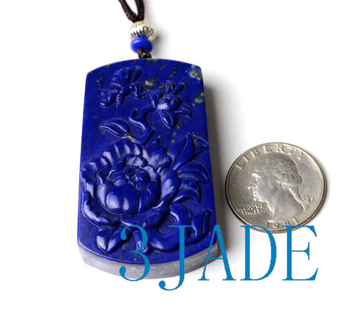 Hand Carved Lapis Lazuli Flower Pendant Necklace