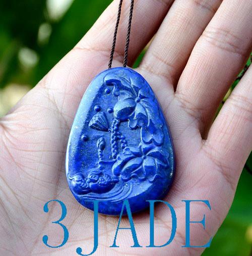 Lapis Lazuli Lotus Mandarin Duck Pendant