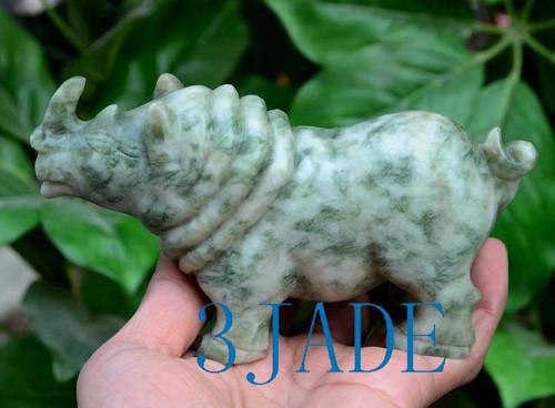 Hand Carved Stone Rhino Statue
